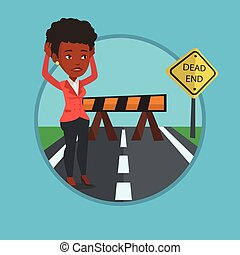 Businesswoman looking at road sign dead end. - Woman looking...