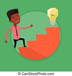 Businessman walking upstairs to the idea bulb. - Businessman...