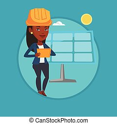 Female worker of solar power plant. - African worker of...