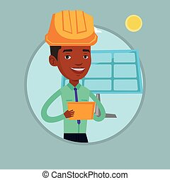 Male worker of solar power plant. - African worker of solar...