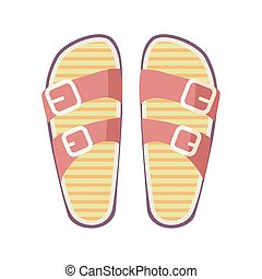 Casual Summer Flip-Flops Isolated Illustration - Casual...
