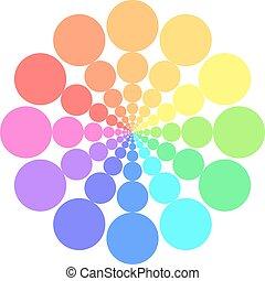 Partly transparent rainbow spectrum color circles arranged...