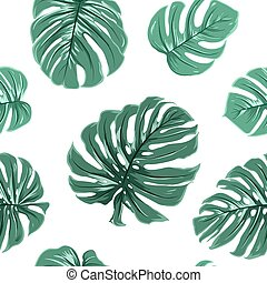 Tropical exotic monstera leaves seamless pattern - Tropical...