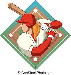 baseball batter female - female baseball batter with...