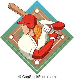 baseball batter female - female baseball batter with...