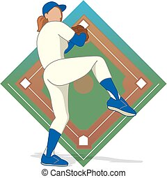 baseball pitcher female - female baseball pitcher with...