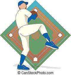 baseball pitcher male - male baseball pitcher with baseball...