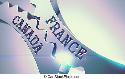 France Canada on Mechanism of Shiny Metal Cog Gears. 3d. -...