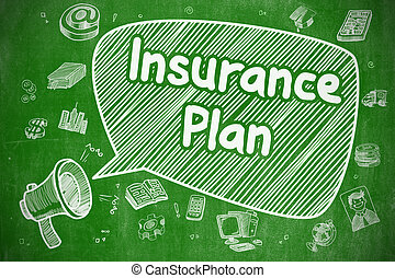 Insurance Plan - Cartoon Illustration on Green Chalkboard. -...