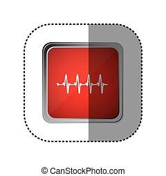 red emblem vital sign, vector illustration design