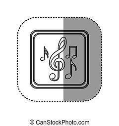 figure emblem musical notes, vector illustration design