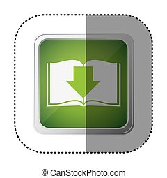 green emblem book with down arrow, vector illustration