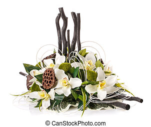 decoration with flowers and candles composition on a white...