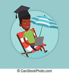 Graduate lying in chaise lounge with laptop. -...