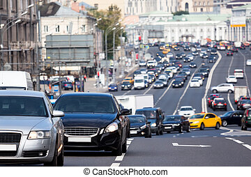 Queue of cars on the turn during the rush hour