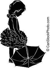 Silhouette girl with umbrella - Silhouette little girl with...
