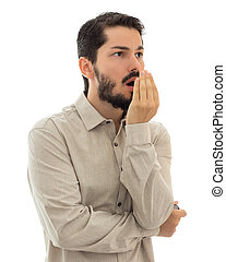 Checking bad breath. Halitosis concept. - Executive...