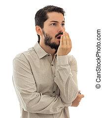 Checking bad breath. Halitosis concept. - Executive...