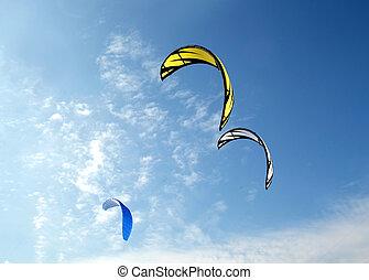 Colofull kites in blue sky