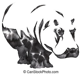 black and white monochrome painting with water and ink draw...