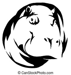 black and white linear paint draw Hippo illustration - black...
