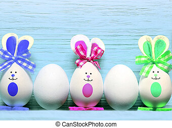 Colored easter eggs bunny. Happy Easter. - Colored easter...