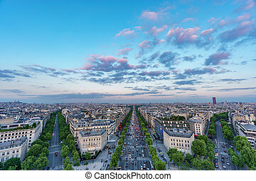 Skyline of Paris with Champs-Elysees and Sacre coeur at...