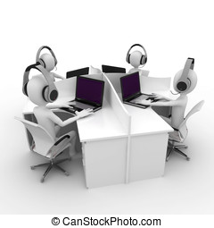 3d man support center cubicle team working