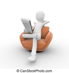 3d man with sofa and remote