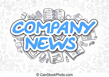 Company News - Doodle Blue Word. Business Concept.