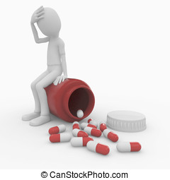 3d man with pills and bottle - 3d man with pills and red...