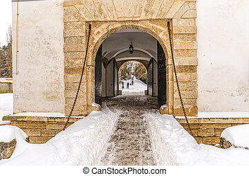 Varazdin Old Town gate in winter time, one of the most...