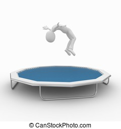 3d man with trampoline