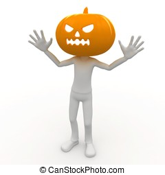 3d man with pumpkin head