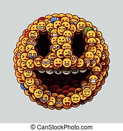 Smiley face made of many small smiles. Unusual and creative smile crowd concept.
