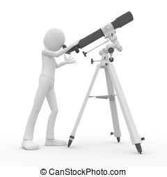 3d man with telescope - 3d man observing the sky with...