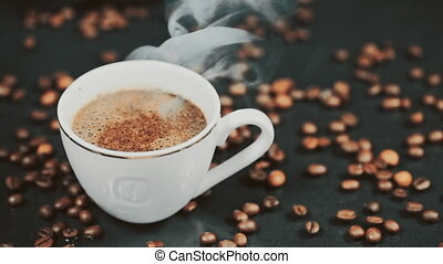 Coffee. Cup of Hot Coffee Espresso. Coffee or Tea. Slow motion