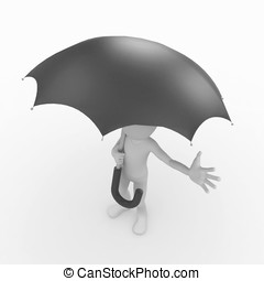 3d man with black umbrella - 3d man standing with a black...