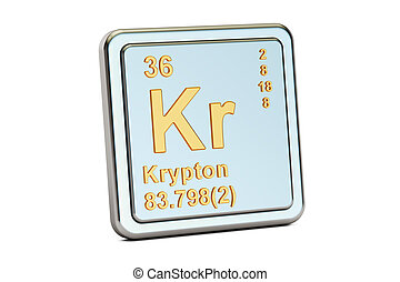 Krypton Kr, chemical element sign. 3D rendering isolated on...