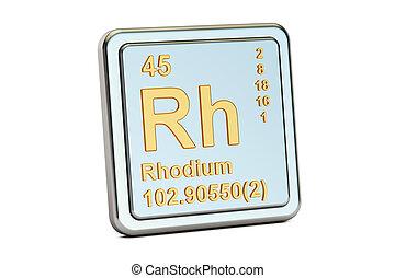 Rhodium Rh, chemical element sign. 3D rendering - Rhodium Rh...