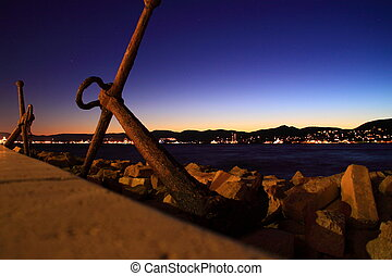 St. Tropez at the night - Coast of St. Tropez at the night...