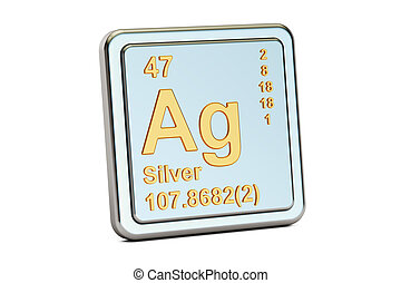 Silver Ag, chemical element sign. 3D rendering - Silver Ag...