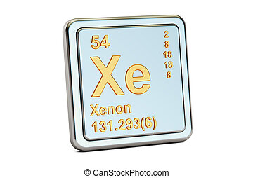 Xenon Xe, chemical element sign. 3D rendering - Xenon xe,...
