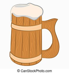 Wooden mug with beer