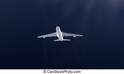 Boeing 747 over ocean - Flying plane over the ocean