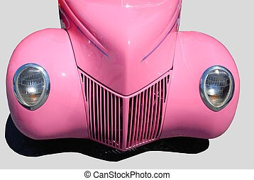 customized classic pink car - customized vintage car in pink...