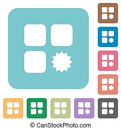 Certified component rounded square flat icons - Certified...