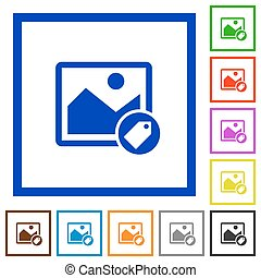 Image tagging flat framed icons - Image tagging flat color...