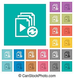 Restart playlist square flat multi colored icons - Restart...