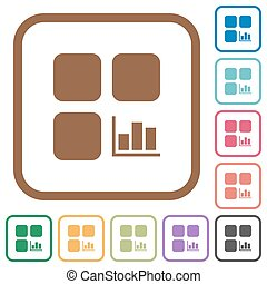 Component statistics simple icons in color rounded square...